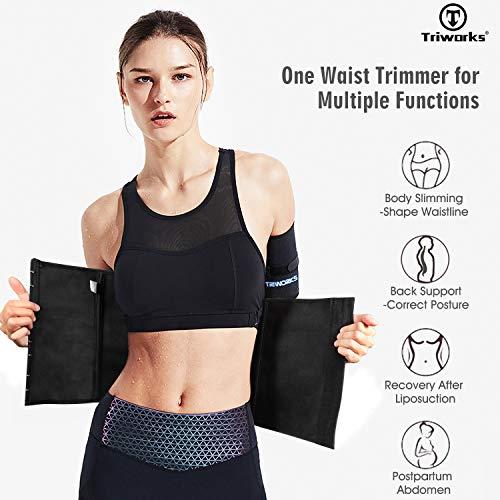 TRIWORKS Waist Trimmer-Shaper Body Slimming Waist Band-Sweat Waist Cincher Trainer Belt for Women-Girdles Workout Belt (Black, Waist size 30\
