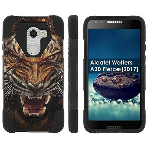 [Mobiflare] Dual Layer Armor Case [Kickstand] for Alcatel REVVL /Alcatel Walters / Alcatel A30 Fierce [2017] [Black/Black] Mil-Spec - [Tiger (Roar Spec)