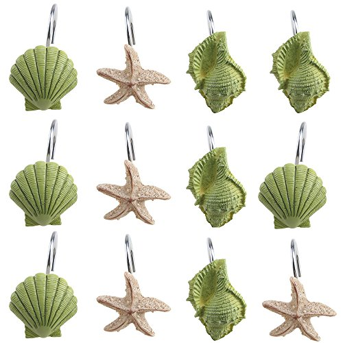 12-PCS-DECORATIVE-Seashell-Shower-Curtain-Hooks-Bathroom-Beach-Shell-Decor-NEW