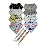 Baby Bandana Drool Bibs for Boys & Girls, 8-Pack 100% Organic Cotton and 3 Holders Soft & Absorbent Drooling & Teething Bib Set by WillNick