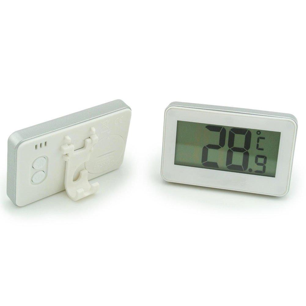 Termómetro de congelador digital Termómetro de refrigerador inalámbrico y monitor de temperatura interior (pantalla de LED grande, blanco) Tres modos de colocación (colgando, de pie y palo magnético) Chengzhi