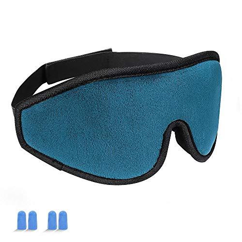 Sleeping Mask for Women and Men, Eye Mask(HYOUCHANG) Blindfold Upgraded Soft Cotton Lightweight 3D Eye Sleeping Mask Cover [100% Light Blcok] Blindfold for Night Sleeping, Travel, Nap, Shif (Blue)