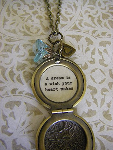 Cinderella Necklace, Locket, A dream is a wish your heart makes, keepsake jewelry