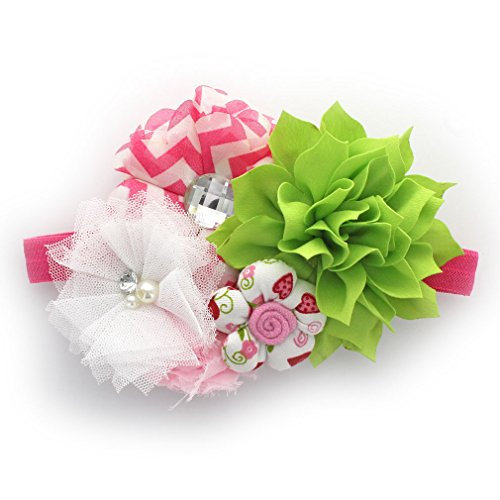 My Lello Headband Shabby Fabric Flower Cluster Baby - Infant - Toddler - Girl Stretchy Elastic Apple Green/Hot Pink Chevron