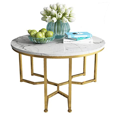 Dxjni White Marble Coffee Table Triangular Structure Metal