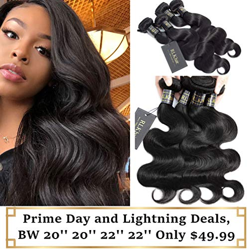 RLK Hair Peruvian Virgin Body Wave Human Hair 4 Bundles(20'' 20'' 22'' 22'',Natural Color), 8A 100% Unprocessed Body Wave Hair Extension Weft for Black Women, Peruvian Cheap Hair Bundles