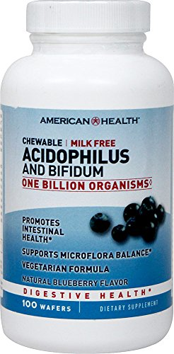 (American Health Chewable Probiotics, Acidophilus-Blueberry with Acidophilus and Bifidus, 100 Count)