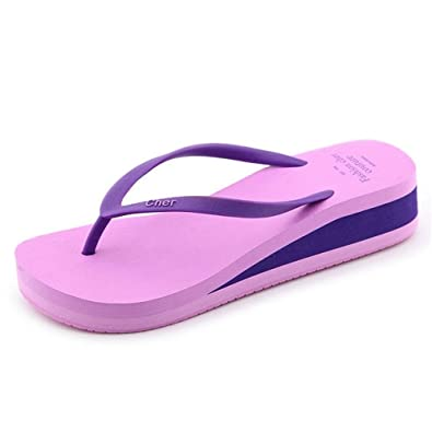 Women's Flexible Cushion Thong Sandals Wedges Flip Flops