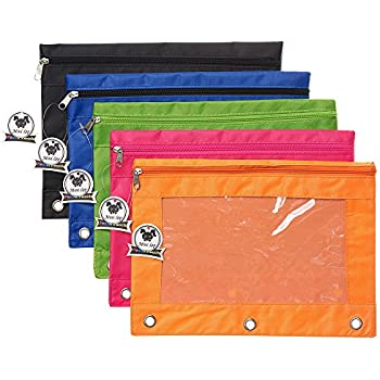 OFFICEPOCH Zippered Pen Pencil Binder Pouch 3 Rings with Clear Window for School Classroom Organizers 8 pack Black