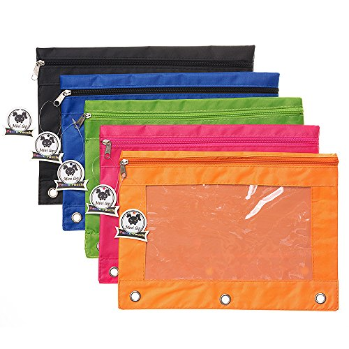 (Zippered Binder Pencil Pouch with Rivet Enforced Hole 3 Ring Pencil Case)
