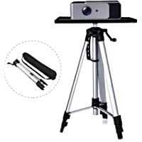 Moutik Tripod Projector Stand Aluminum Projector Floor Stand Adjustable Laptop Stand Height Adjustable from 21'' to 54'' with Plate and Carrying Bag