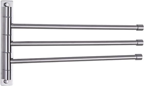 180° Wall Mounted Bathroom Towel Rack 2 Swivel Rail Hanger Shelf Stainless Steel