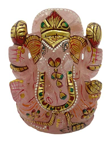 Rose Quartz Ganesh Statue 4 Inches with Gold foil artwork - Ganesha Sculpture/Figurine & other deities carving in Gemstones