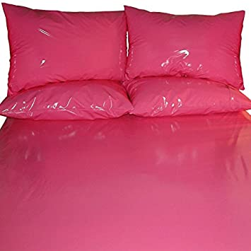 PVC High Gloss Fitted Bed Sheet Pink Double