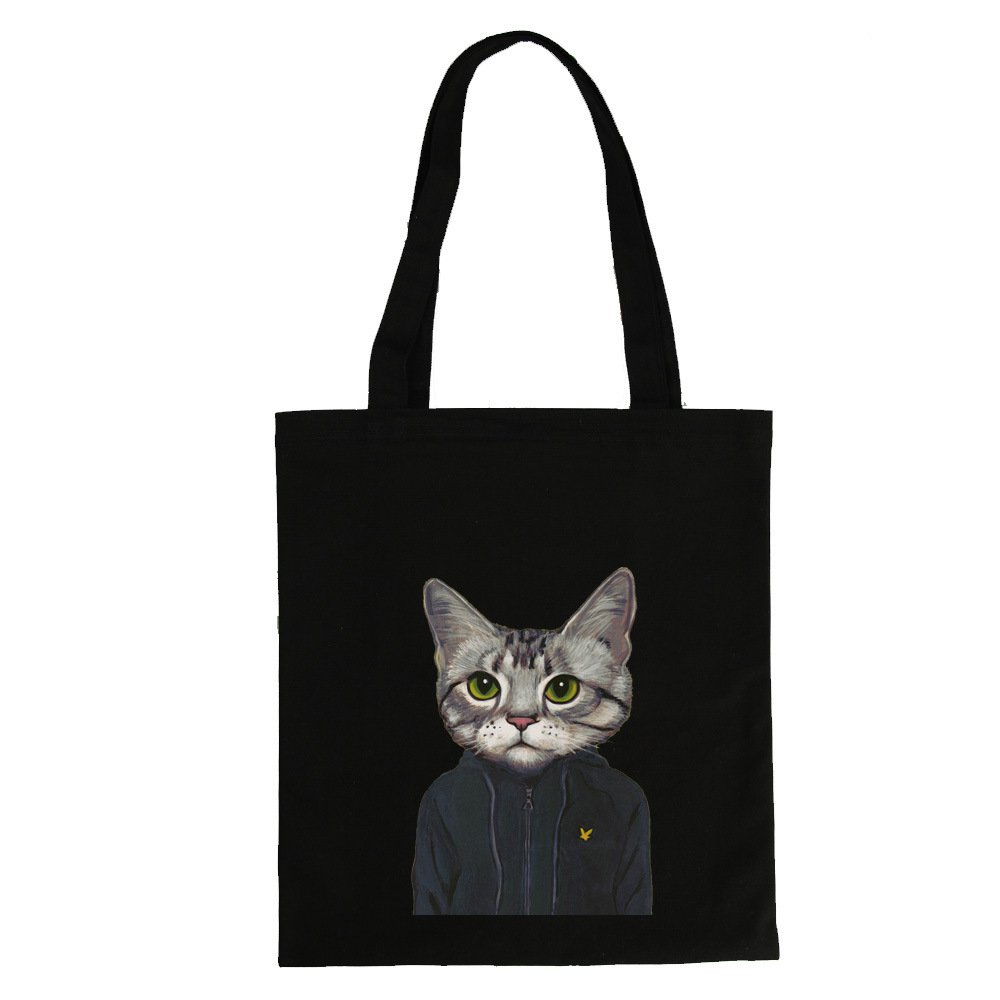 Canvas Tote Bag Cat Black Print (12.99 x 16.54inch) ASAPS by ASAPS (Image #1)