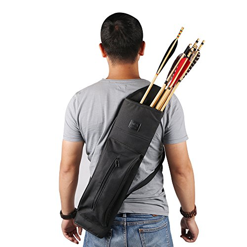TOPARCHERY Archery Back Canvas Arrow Quiver Arrow Holder Shoulder Hanged Target Shooting Quiver for Arrows with Front Pockets (Old Style)