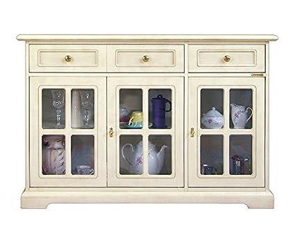 Aparador 3 puertas de vidrio en estilo clasico, aparador de comedor ...