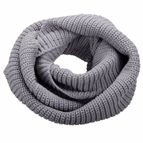 NEOSAN Womens Thick Ribbed Knit Winter Infinity Circle Loop Scarf Light Grey ()