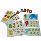 Eonkoo Cute Number Animal Baby Educational Wooden Toys Set for Toddler Brain Training, Natural Wooden Card Count Matching Puzzle Jigsaw Toy for Children Best Gift