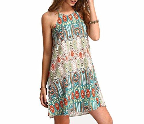 Beach Sleeveless Dress Wind National Neck Loose Sling Summer Dress BSGSH Women Round Retro FFqRdW