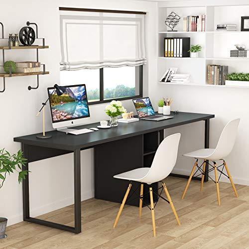Tribesigns 78 Inches Computer Desk, Extra Large Two Person Office Desk with Shelf, Double Workstation Desk for Home Office (Black) ()