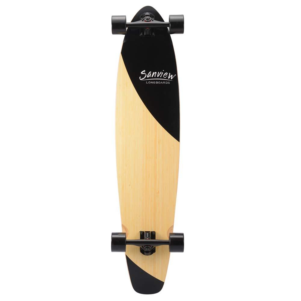 SANVIEW Bamboo Longboard Skateboards Cruiser (Black Fishtail)