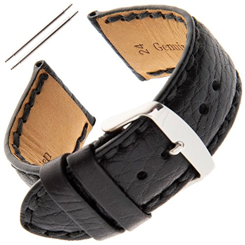 (Gilden Gents 18-24mm Padded Stitched Buffalo-Grain Calfskin Watch Strap PS52-0118 (18 Millimeter end Width, Black))