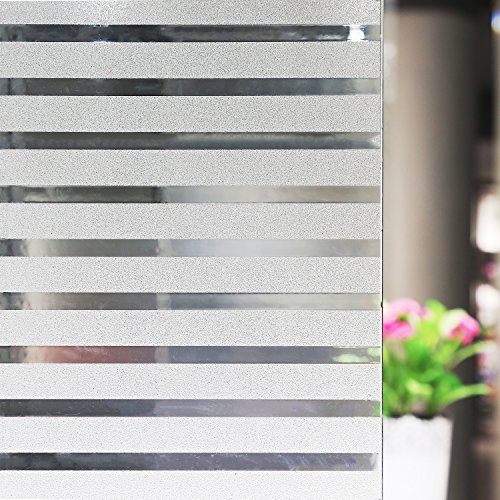 Stripes Frosted Window Film, Anumit Static Cling Window Tint Non-Adhesive Privacy Window Cling Vinyl Anti-UV Window Sticker for Home Office Meeting Rooms Glass Window Doors 17.7 x 78.7 inches (Tint Semi)