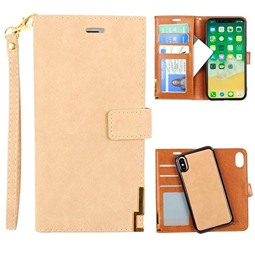 iPhone X Wallet Case, iPhone XS Case, Soft Faux Suede Leather with Matching Detachable Flip Cover with Credit Card Holder Wristlet for Women [Ultrasuede 2.0 - Tan]