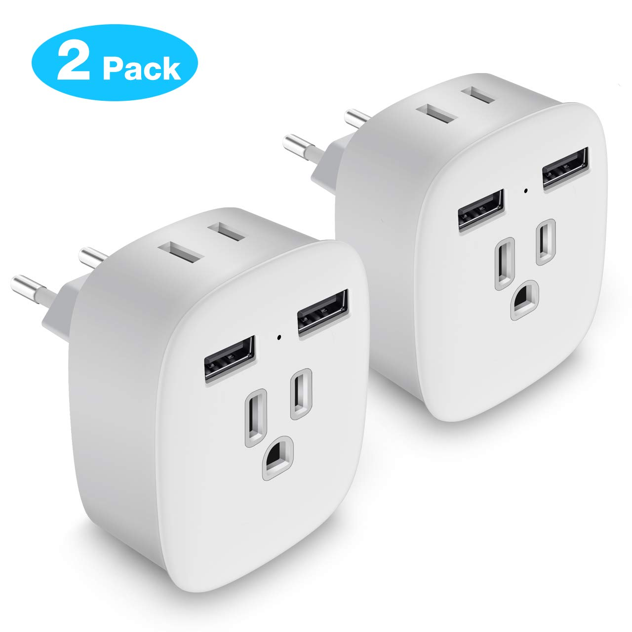 European Plug Adapter, Upgraded 4 in 1 US to Europe Travel Plug Adapter with 2 USB Ports 2 Outlets, European Type C Plug Travel Adapter for Italy France Spain Germany Greece Iceland (2 Pack)