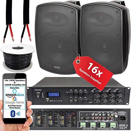 1600W LOUD Outdoor Bluetooth Sound System   16x 140W Black Speaker   8 Channel / Zone Matrix HiFi Mixer Amplifier Amp…