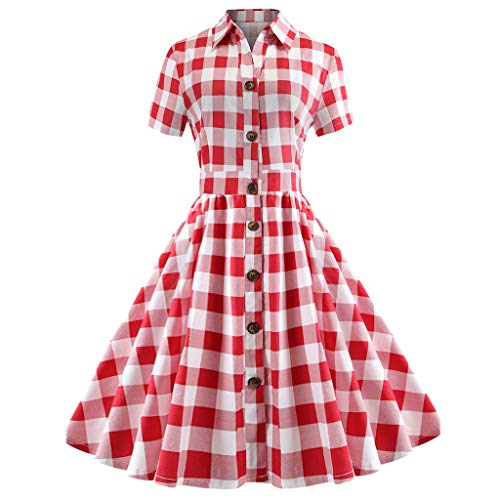 (Londony ❤↪❤ Women's 1950s Vintage Vestidos Short Sleeve Lapel Neck Button Up Plaid Swing Dress with Pockets Red)