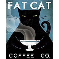 Fat Cat Coffee Co Ryan Fowler Vintage Ads Cats Print Poster (Choose Print or Framed)