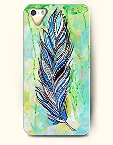OOFIT Apple iPhone 4 4S Case Paisley Pattern ( a Blue Black White Feather in Green Background )