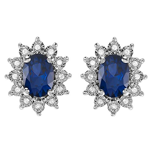 Diana Sapphire Earrings - Dazzlingrock Collection Kate Middleton Diana Inspired 10K Oval Blue Sapphire & Round Diamond Stud Earrings, White Gold