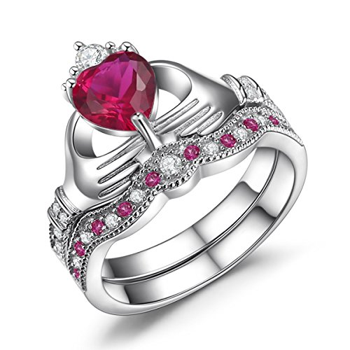 amazoncom caperci 925 sterling silver claddagh ring heart shaped simulated ruby wedding engagement ring sets jewelry - Ruby Wedding Ring Sets