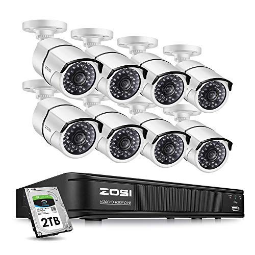ZOSI 8-Channel HD-TVI 1080p Security Camera System,Surveillance DVR Recorder with (8) 2.0MP 1920TVL Indoor/Outdoor Bullet Cameras,100ft Night Vision,2TB Hard Disk Built-in
