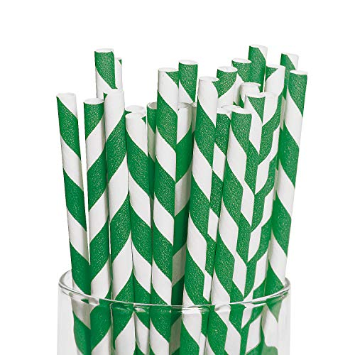 (Fun Express Green Striped Paper Straws (24)