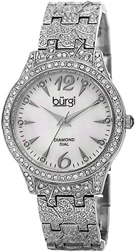 Burgi Women's BUR127SS Diamond & Crystal Accented Mother-of-Pearl Dial Embossed Silver Bracelet Watch