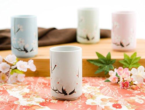 Japanese Tea Cups Quality Ceramic Set of 4 Cherry Blossom Sakura Design Assorted Colors Four Season Decorative Sushi Teacups Gift - Sushi Cherry Blossom