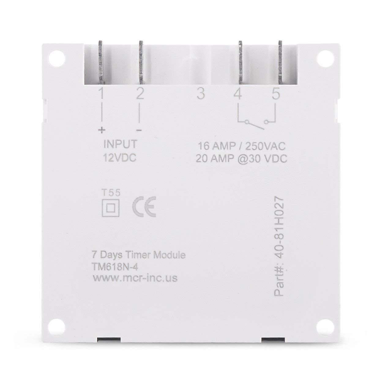 Tree-on-Life TM618N-4 Interrupteur Programmateur Programmable Num/érique AC 12V LCD Num/érique Avec Relais List/é UL /à Lint/érieur avec Fonction Compte /à rebours