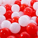 Lofty 100 Pieces Ball Pits - 2.15 inch White Red Pit Balls Children Plastic Ocean Ball Swim Toys Balls For Kids Playhouse Pool Accessories