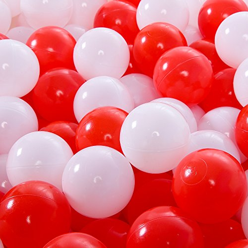 Lofty 100 Pieces Ball Pits - 2.15 inch White Red Pit Balls Children Plastic Ocean Ball Swim Toys Balls For Kids Playhouse Pool Accessories by Lofty