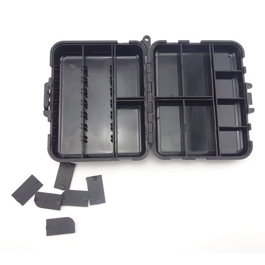 Kaemma Caja de Aparejos de Pesca Multifuncional Accesorios de Pesca Ganchos Giratorios Plomo Fregadero de Pesca con Anillo Carpa Cajas de Aparejos de Pesca Color:Black