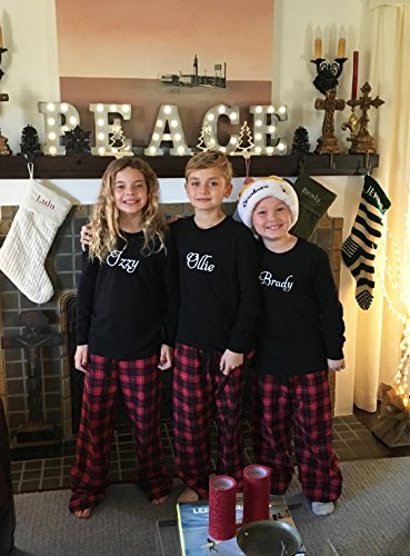 Set of 3 Personalized Kids Christmas Pajamas - Black and Red (Set of 3) by Cotton Sisters