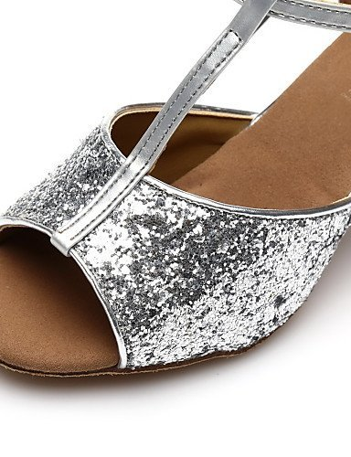 ShangYi Customizable Women's Dance Shoes Latin / Salsa / Samba Paillette Customized Heel Black / Silver / Gold / Other Silver hfp6MR