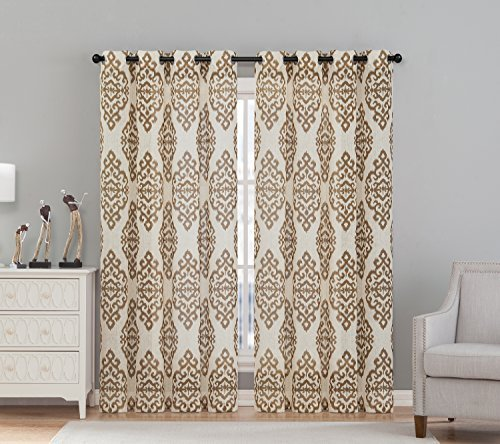 "VCNY Home Luxor Grommet Drape Window Curtain Panel Pair, Window Treatment- Set of Two, 54""x84"" (2 Pieces), Taupe"