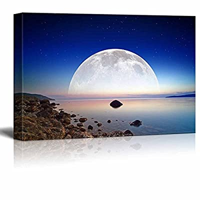 Canvas Prints Wall Art - Abstract Fantastic Dark Blue Sky, Smooth Serene Sea, Full Moon and Stars in Space - 32