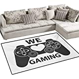 Gamer Bath Mats for Floors We Love Gaming Quote Greyscale Controller Design with Heart in The Middle Door Mat Indoors Bathroom Mats Non Slip 40'x55' Charcoal Grey White