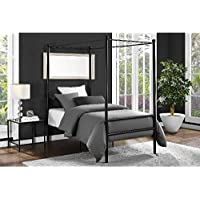 Mainstays Easy to Assemble Modern Design TWIN Size Sturdy Metal Frame Four Post Canopy Bed in Black